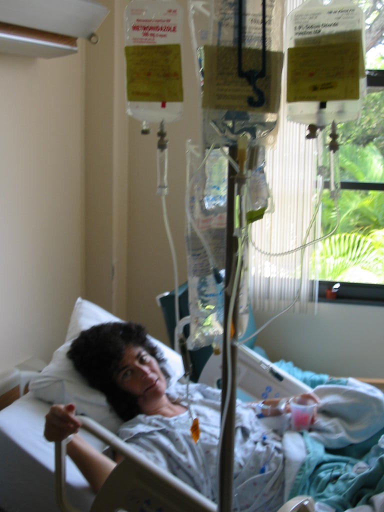 patricia scott in the hospital while medial treatment
