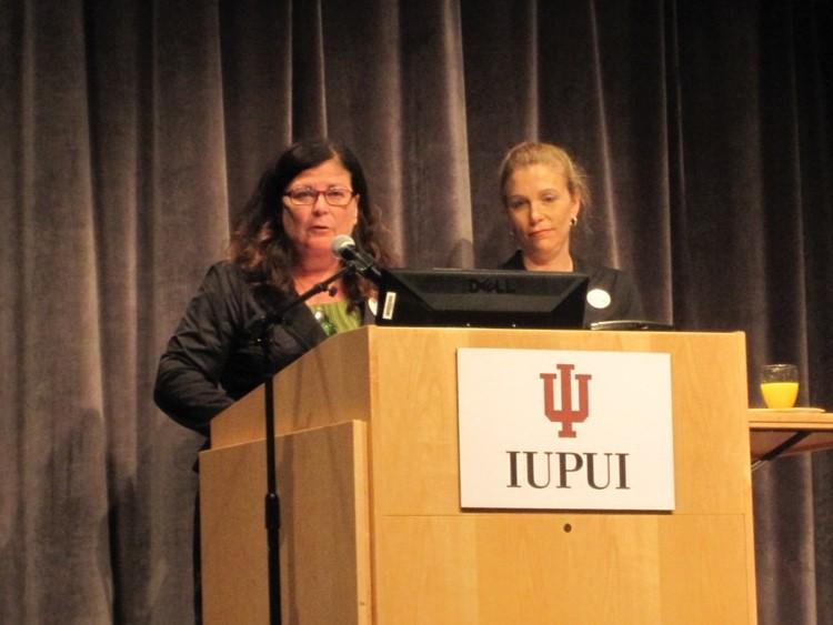Patricia scott giving a speech at IUPUI